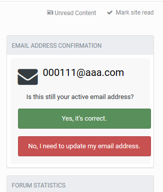 Email Address Confirmation