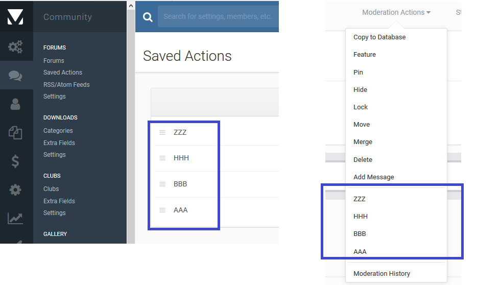 Saved Actions Sorting