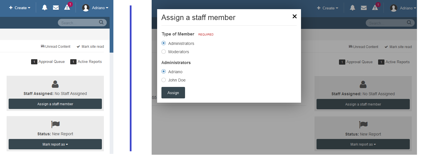 Assign Staff Member to Reports